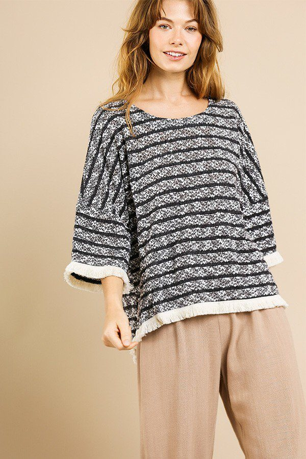 Heathered Striped Knit Bell Sleeve Round Neck Top - Naughty Smile Fashion