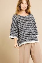 Load image into Gallery viewer, Heathered Striped Knit Bell Sleeve Round Neck Top - Naughty Smile Fashion