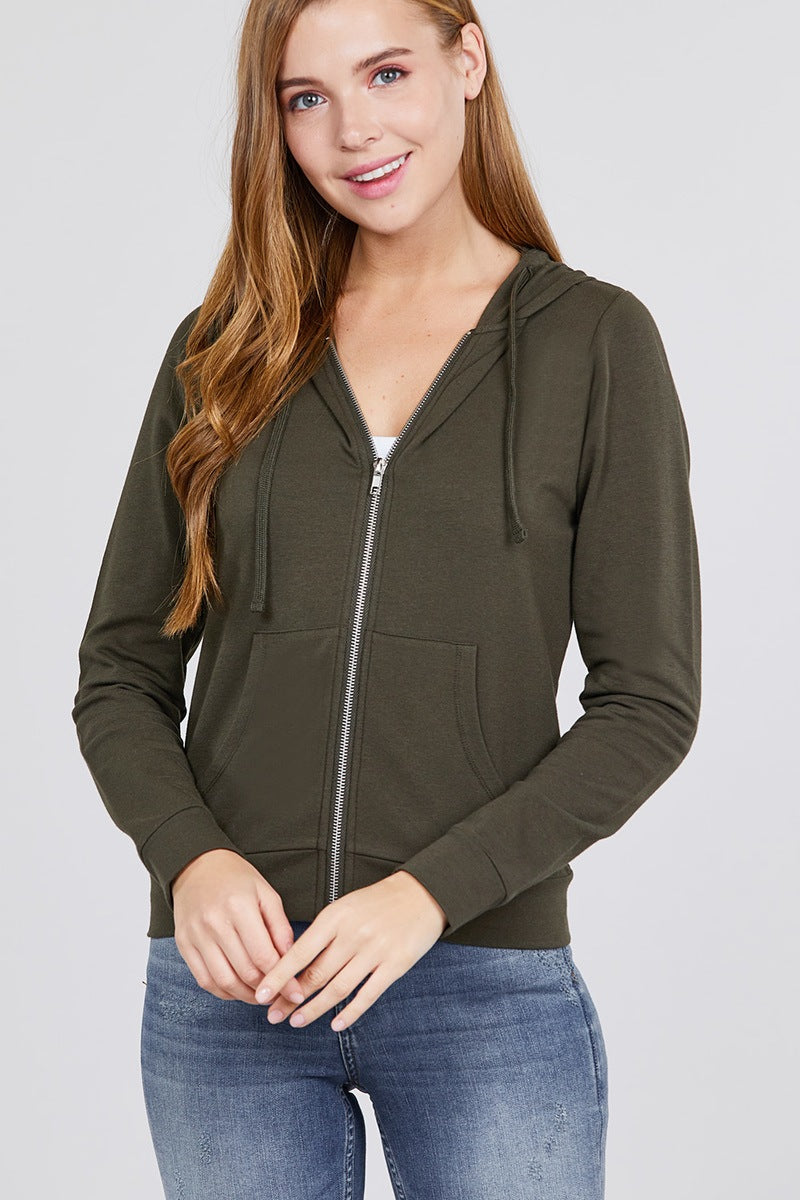 Long Sleeve Zipper French Terry Jacket W/ Kangaroo Pocket - Naughty Smile Fashion