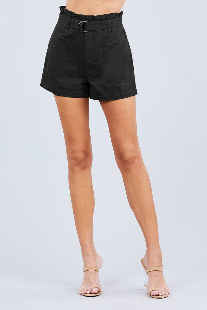 NSF Side Pocket Rolled Up Paper Bag Cotton Short Pants