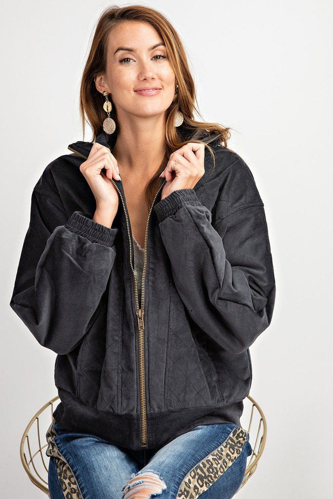 Retro Look Quilted Soft Corduroy Bomber Jacket - Naughty Smile Fashion