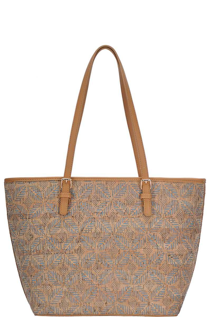 Chic Trendy Cork Textured Fashion Pattern Shopper Bag - Naughty Smile Fashion
