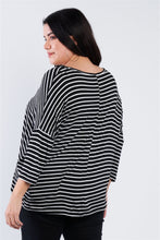 "Load image into Gallery viewer, Plus Size Black White Stripe Scoop Neck Relaxed Fit ""kiki Larue"" Top - Naughty Smile Fashion"