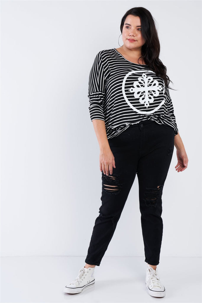 "Plus Size Black White Stripe Scoop Neck Relaxed Fit ""kiki Larue"" Top - Naughty Smile Fashion"