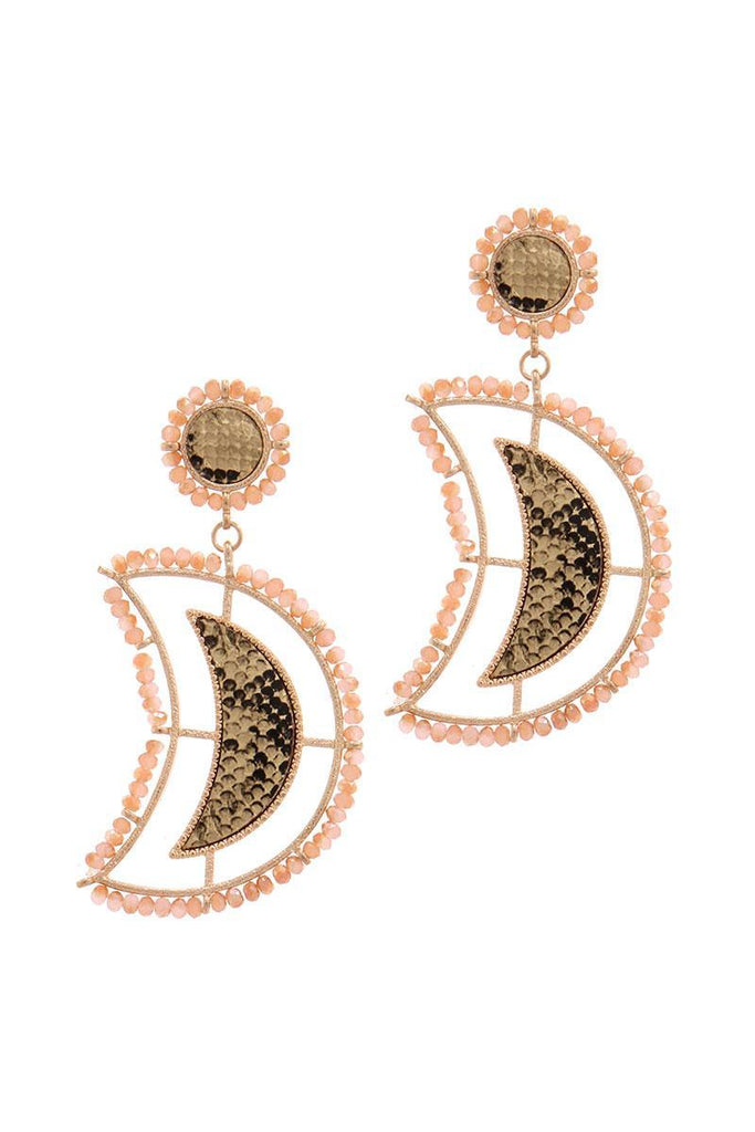 Beaded Snake Pattern Post Drop Earring - Naughty Smile Fashion