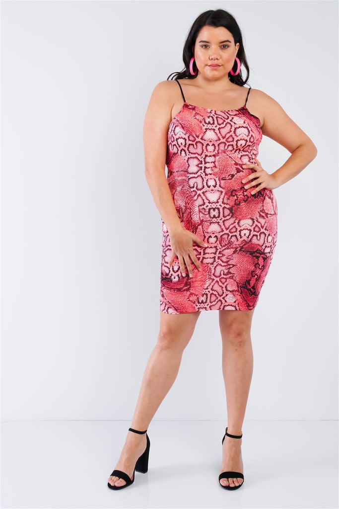 Plus Size Snake Print Open Back Mini Dress - Naughty Smile Fashion