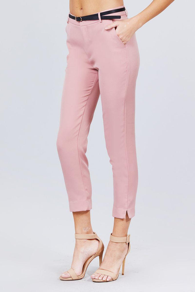 Classic Woven Pants W/belt - Naughty Smile Fashion
