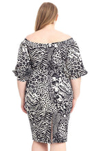 Load image into Gallery viewer, Plus Size  Animal Print Crepe Stretch Bodycon Dress - Naughty Smile Fashion