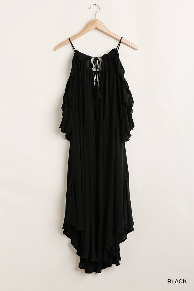 Ruffled Cold Shoulder Maxi Dress With Front Tassel Tie - Naughty Smile Fashion