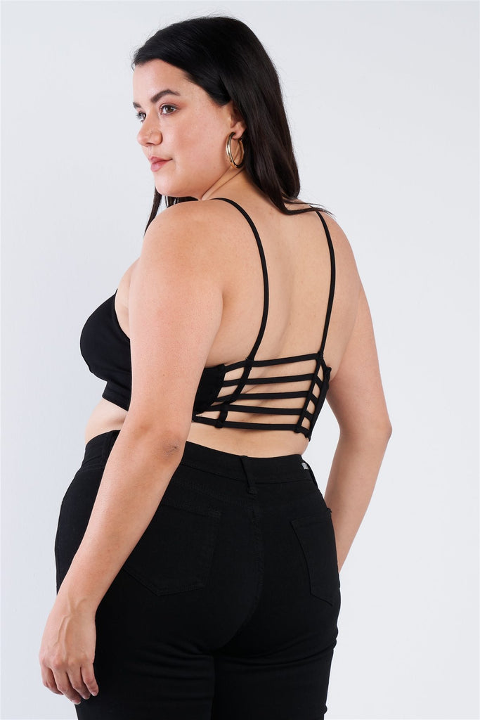 Plus Size Open Stripe Back Cami Strap Athletic Lounge Bra - Naughty Smile Fashion