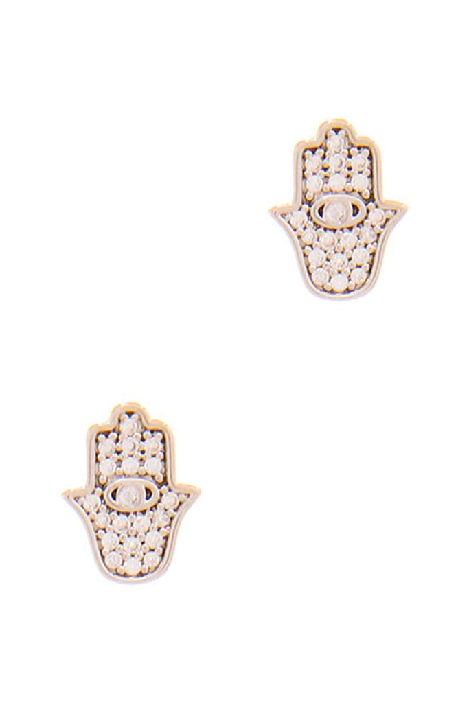 Trendy Hamsa Hand Rhinestone Stud Earring - Naughty Smile Fashion