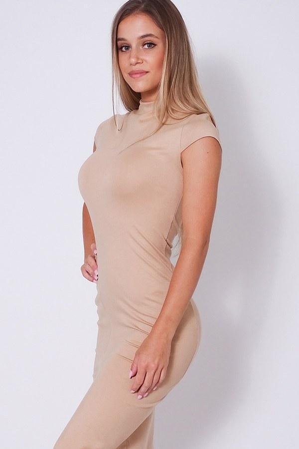 High Neck Cap Sleeve Slitted Basic Midi Dress - Naughty Smile Fashion