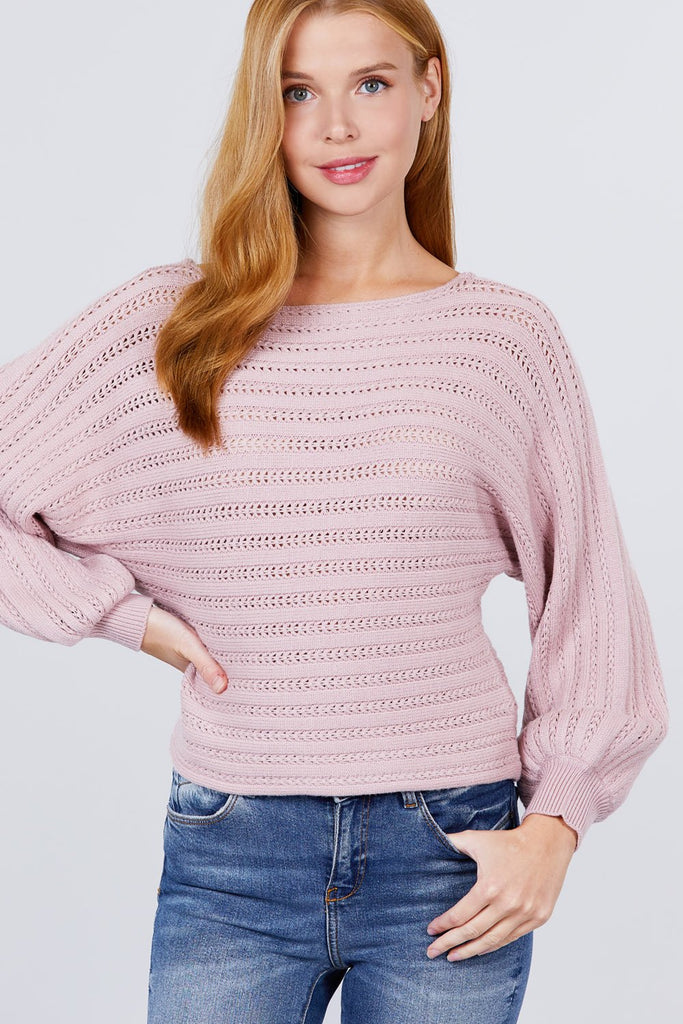 Dolman Sleeve Boat Neck Sweater - Naughty Smile Fashion