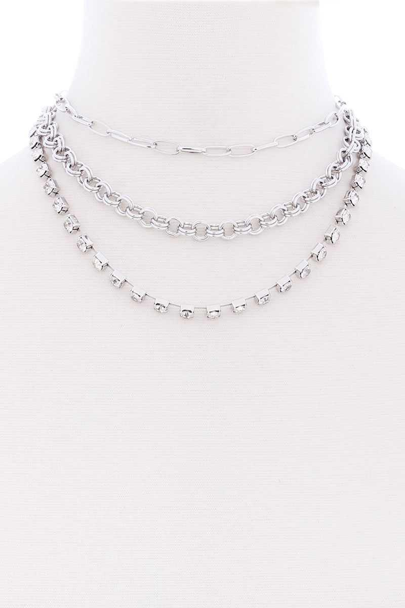 3 Layered Multi Metal Chain Necklace - Naughty Smile Fashion