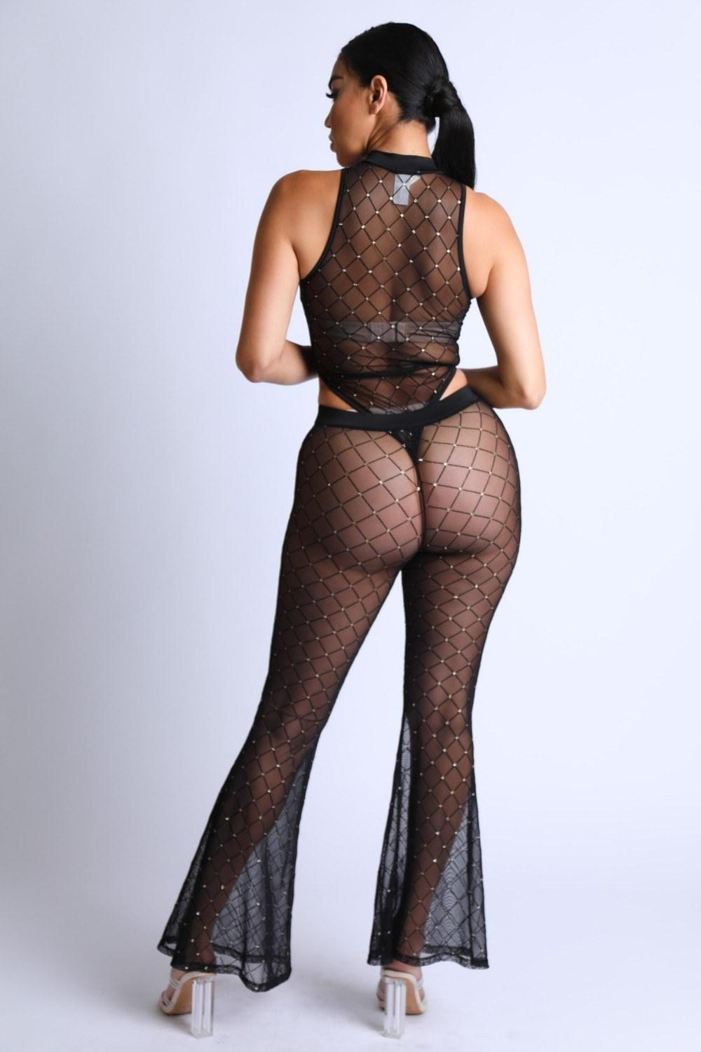 Diamond Mesh Bodysuit Set With Flared Pants - Naughty Smile Fashion