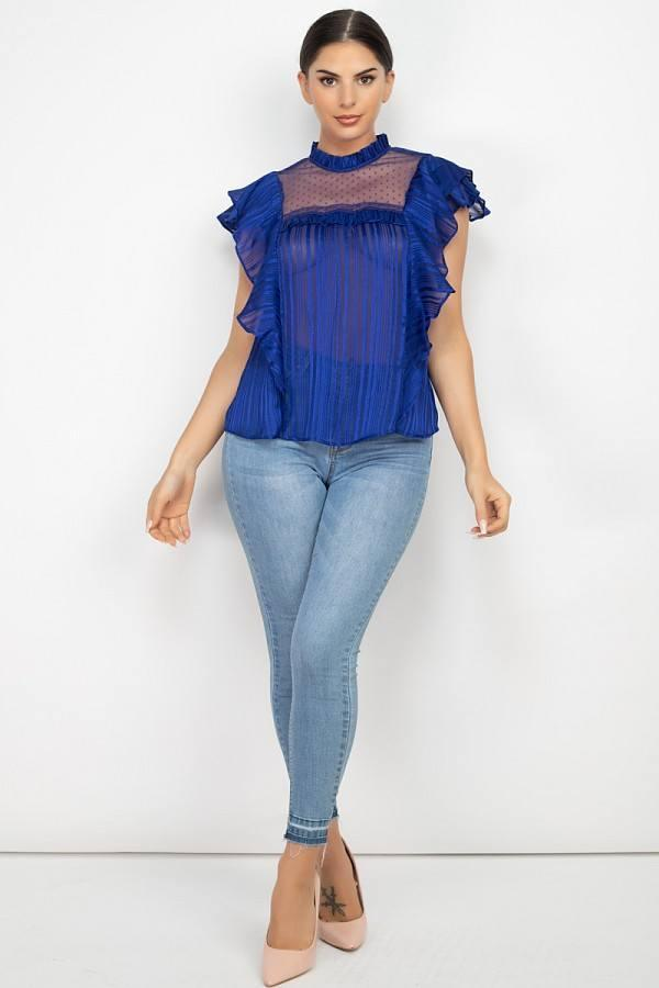 Short Sleeve Ruffle Shadow Top - Naughty Smile Fashion