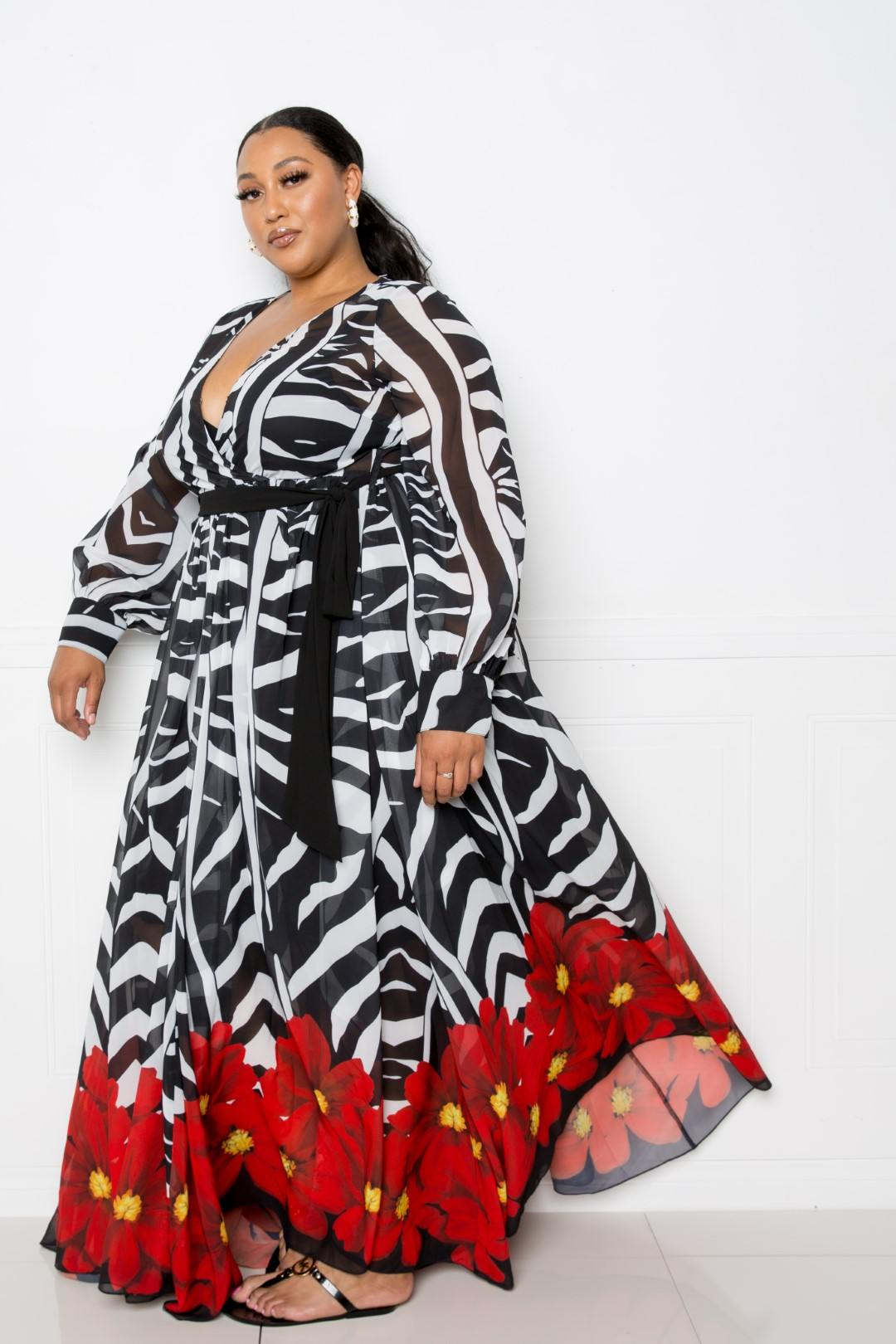 Zebra Printed Maxi Dress - Naughty Smile Fashion