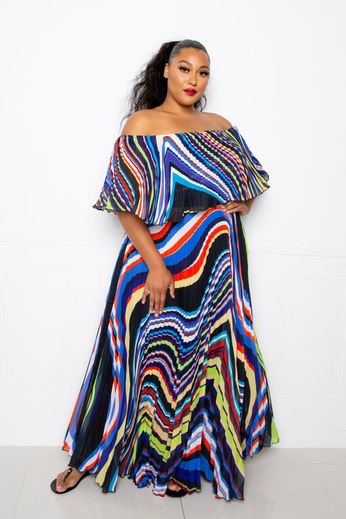 Geo Printed Off Shoulder Pleated Maxi Dress - Naughty Smile Fashion