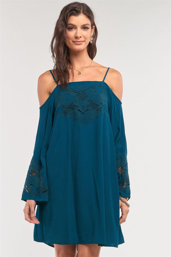 Teal Green Off-the-shoulder Flare Long Sleeve Square Neck Crochet Embroidery Mini Dress - Naughty Smile Fashion