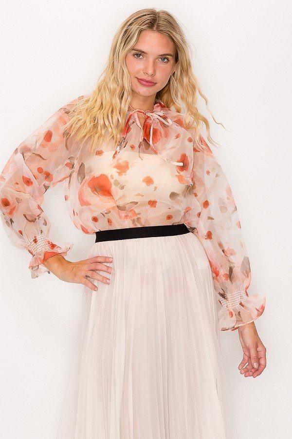 Floral Print Ruffled Organza Top - Naughty Smile Fashion