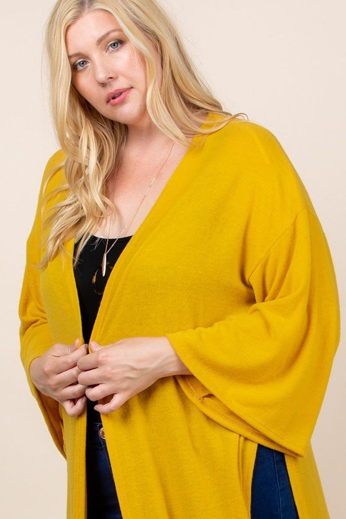 Plus Size Solid Hacci Brush Open Front Long Cardigan With Bell Sleeves - Naughty Smile Fashion
