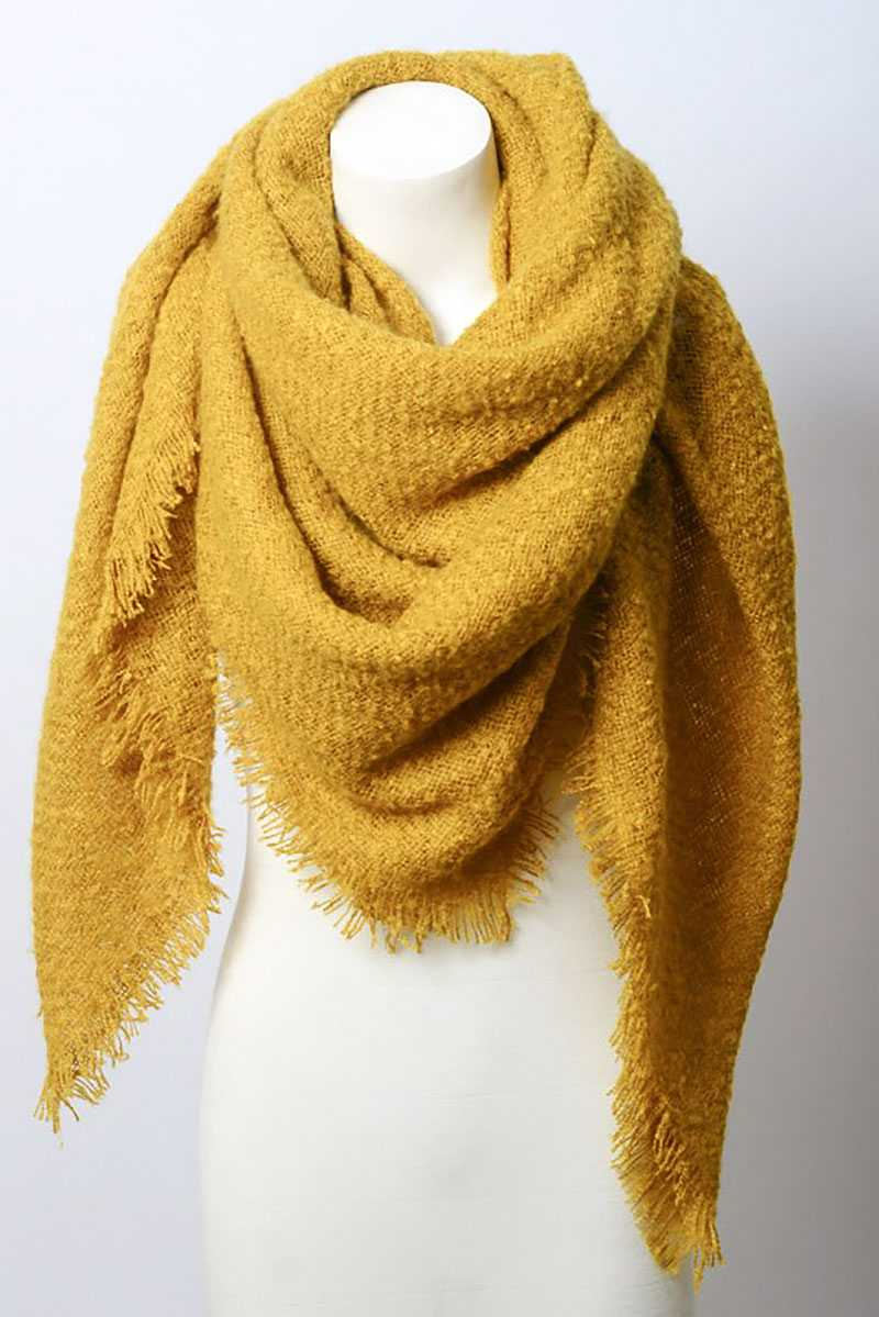 Mohair Open Work Square Blanket Scarf - Naughty Smile Fashion