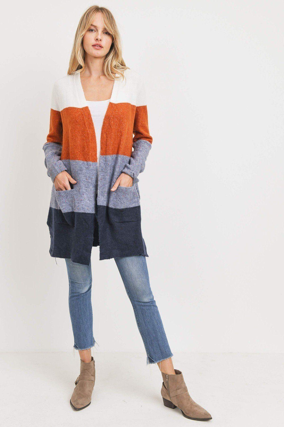 Striped Print Open Front Cardigan - Naughty Smile Fashion