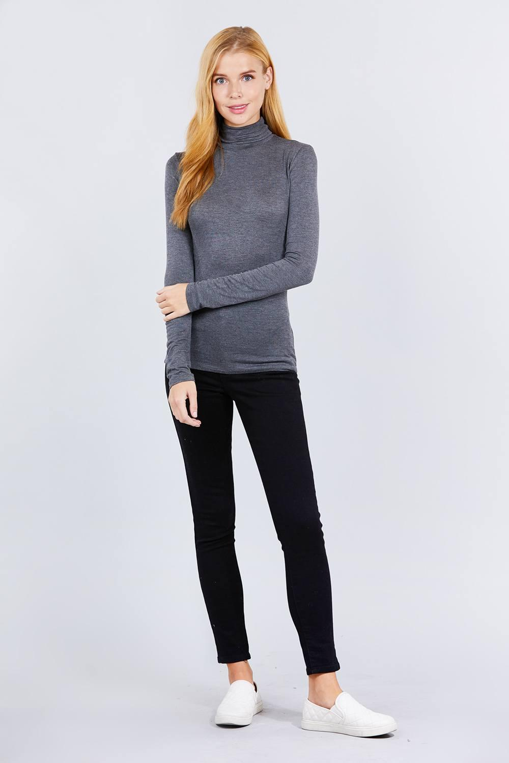 Turtle Neck Rayon Jersey Top - Naughty Smile Fashion