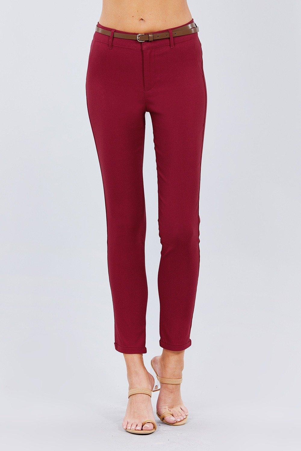 Belted Textured Long Pants - Naughty Smile Fashion