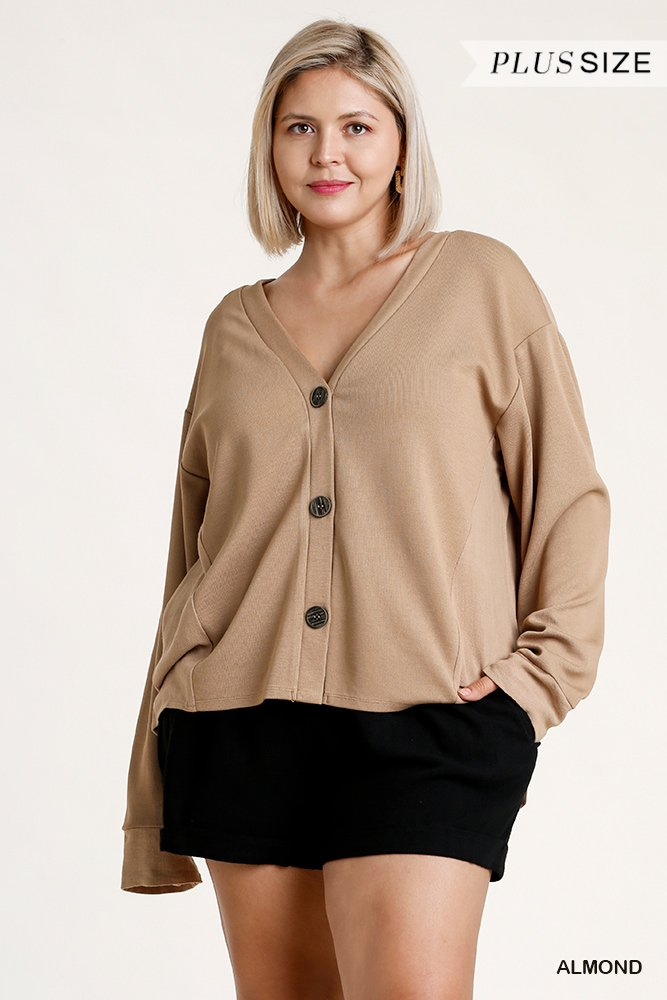 Linen Blend Button Down Cardigan With High Low Hem - Naughty Smile Fashion