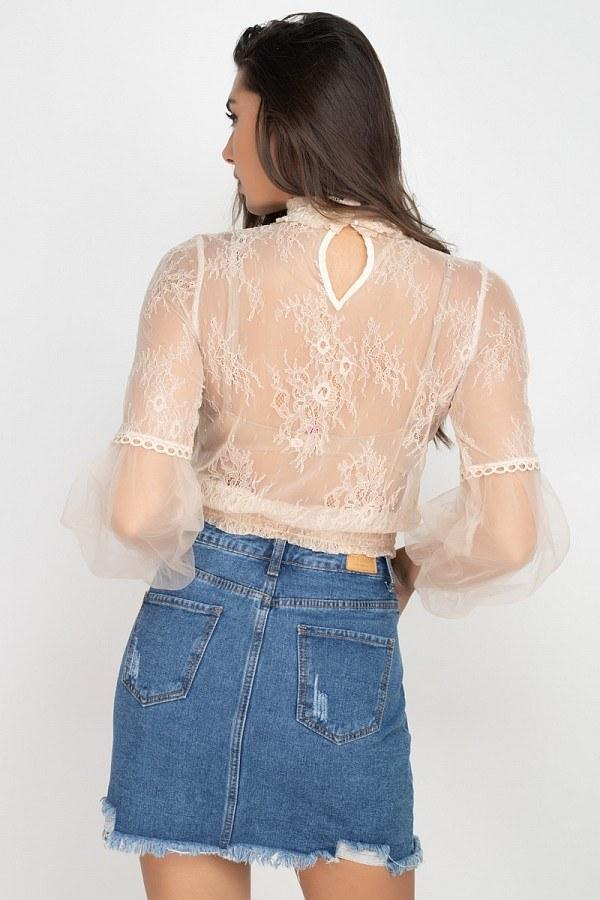 Lace Trim Balloon Sleeve Smocked Top - Naughty Smile Fashion