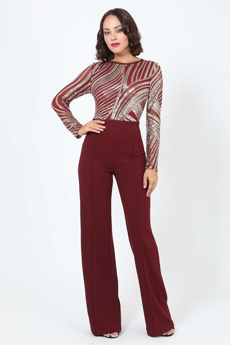 Sophisticated Gold Sequins Bodice Jumpsuit - Naughty Smile Fashion