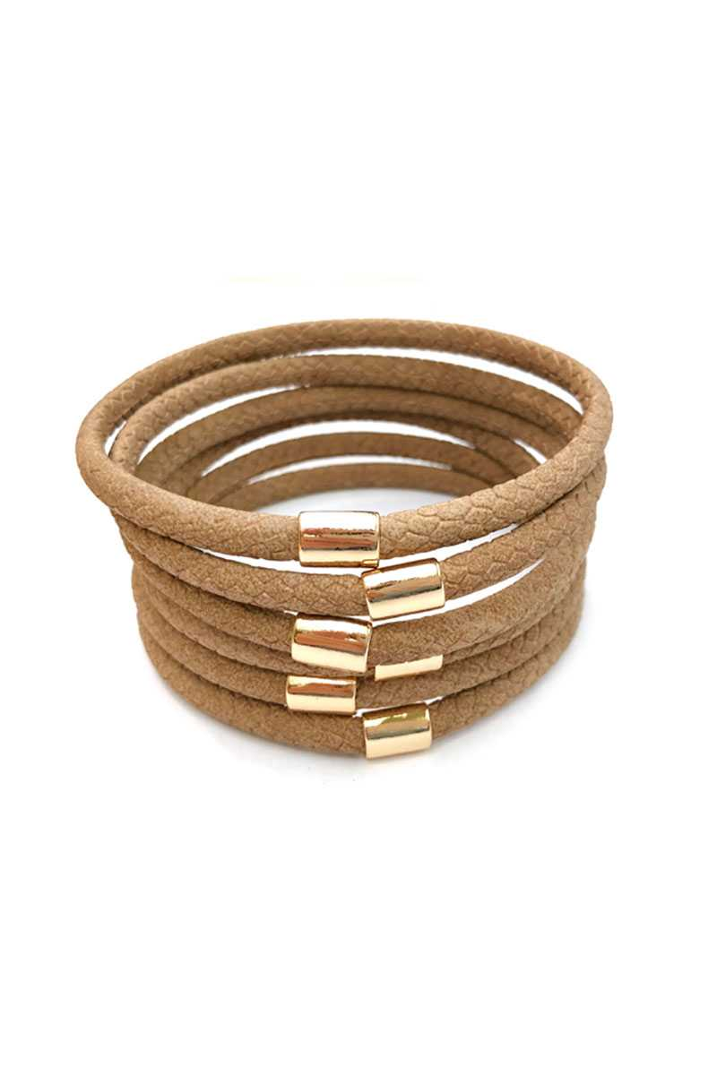 Multi Faux Leather Bangle Bracelet - Naughty Smile Fashion