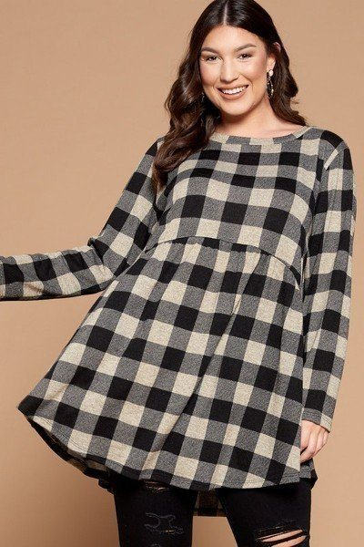 Soft Knit Buffalo Plaid Tunic Top