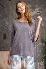 Load image into Gallery viewer, 3/4 Slvs Mineral Washed Terry Knit Boxy Top