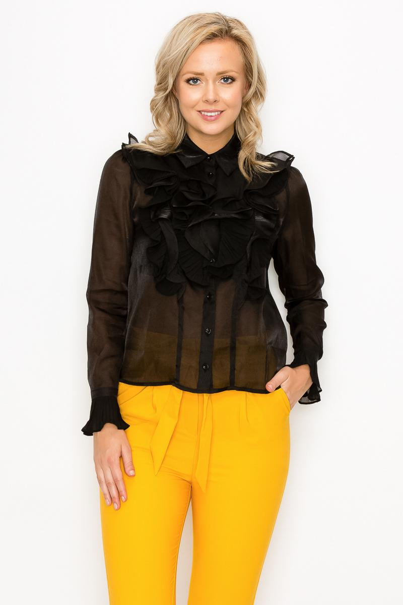 Ruffle Trim Long Sleeve Blouse - Naughty Smile Fashion