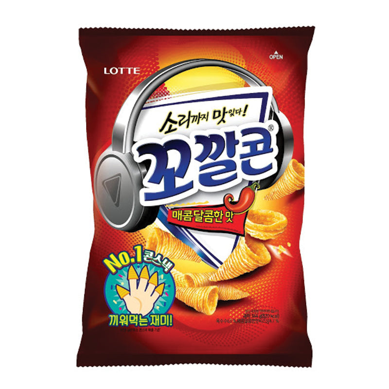 Lotte Popping Corn Chips Sweet Spicy