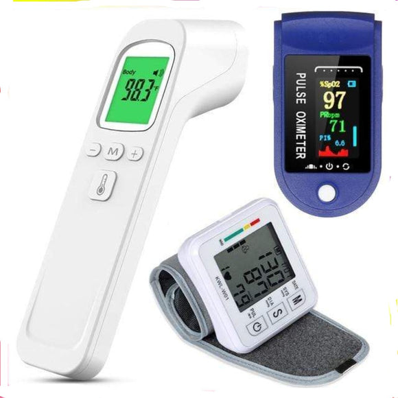 Home Package 5 – Digital Wrist Blood Pressure Monitor (KWL-W01), Digital Thermometer & Oximeter