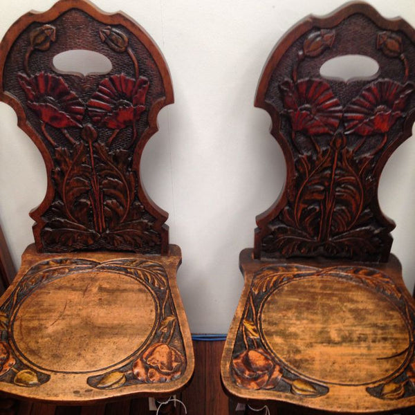 Pair of Art Nouveau Provincial Hall Chairs
