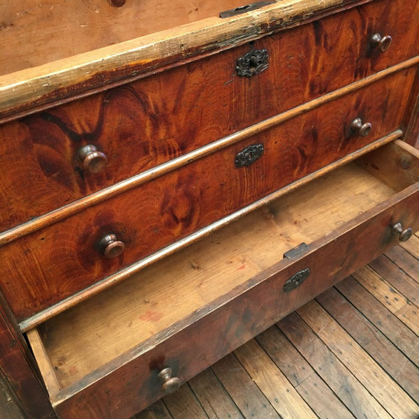 Dowry Chest with simulated woodgrain painted finish