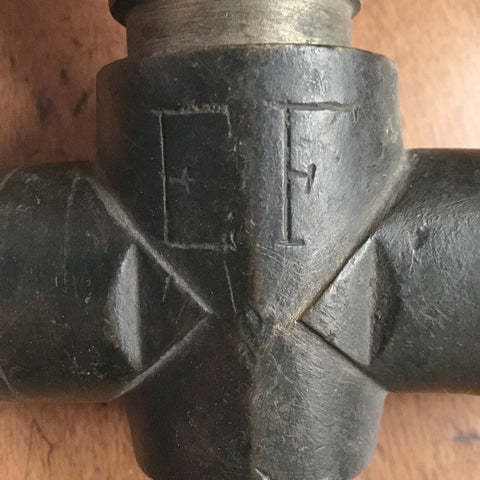 Antique Bronze Tap - initials 'E F'