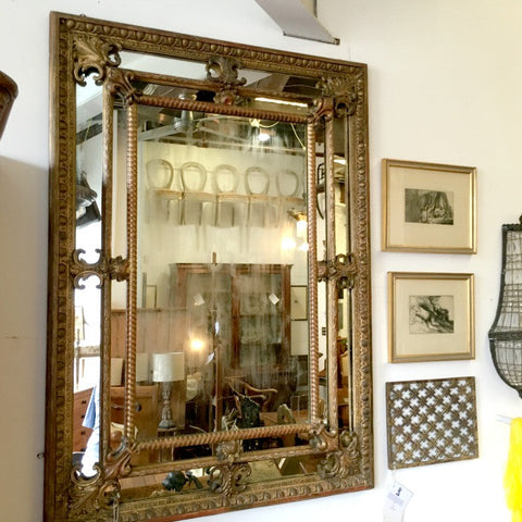 French Cushion Front Gilt Mirror
