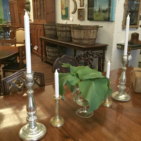 Mercurial Silvered Glass Candlesticks