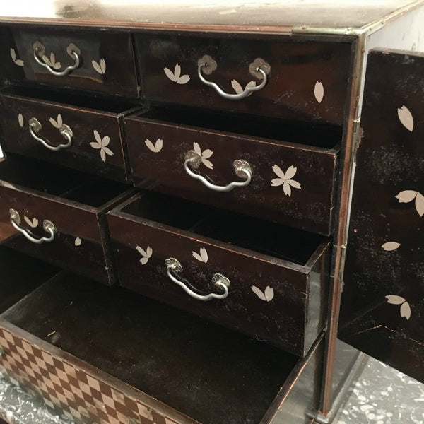 Lacquered Miniature Japanese Chest of Drawers