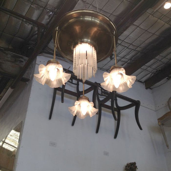 Danish Brass and Glass Ceiling Light