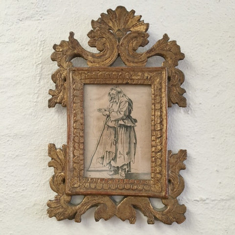 Ink Drawing of Elderly Beggar Woman in Gilt Frame
