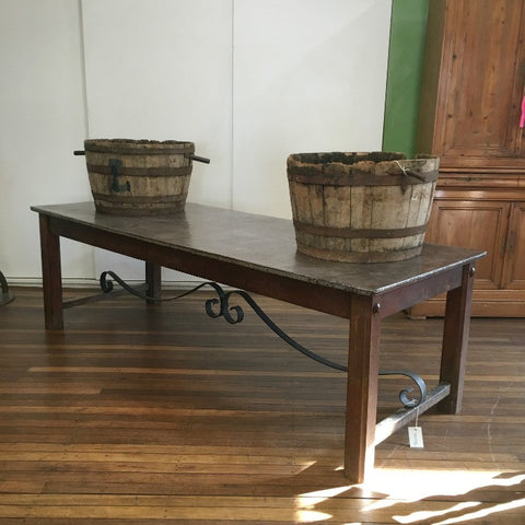 Butchers Table with Metal Top