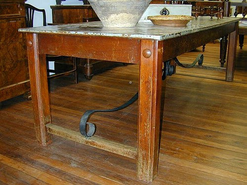 TB0082: Butchers Table with Metal Top