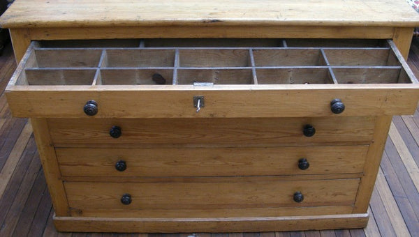 Map or plan chest of drawers. Front view with top compartment open.