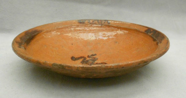 TB0091: Brown Glaze Plate with Frog - side & inside